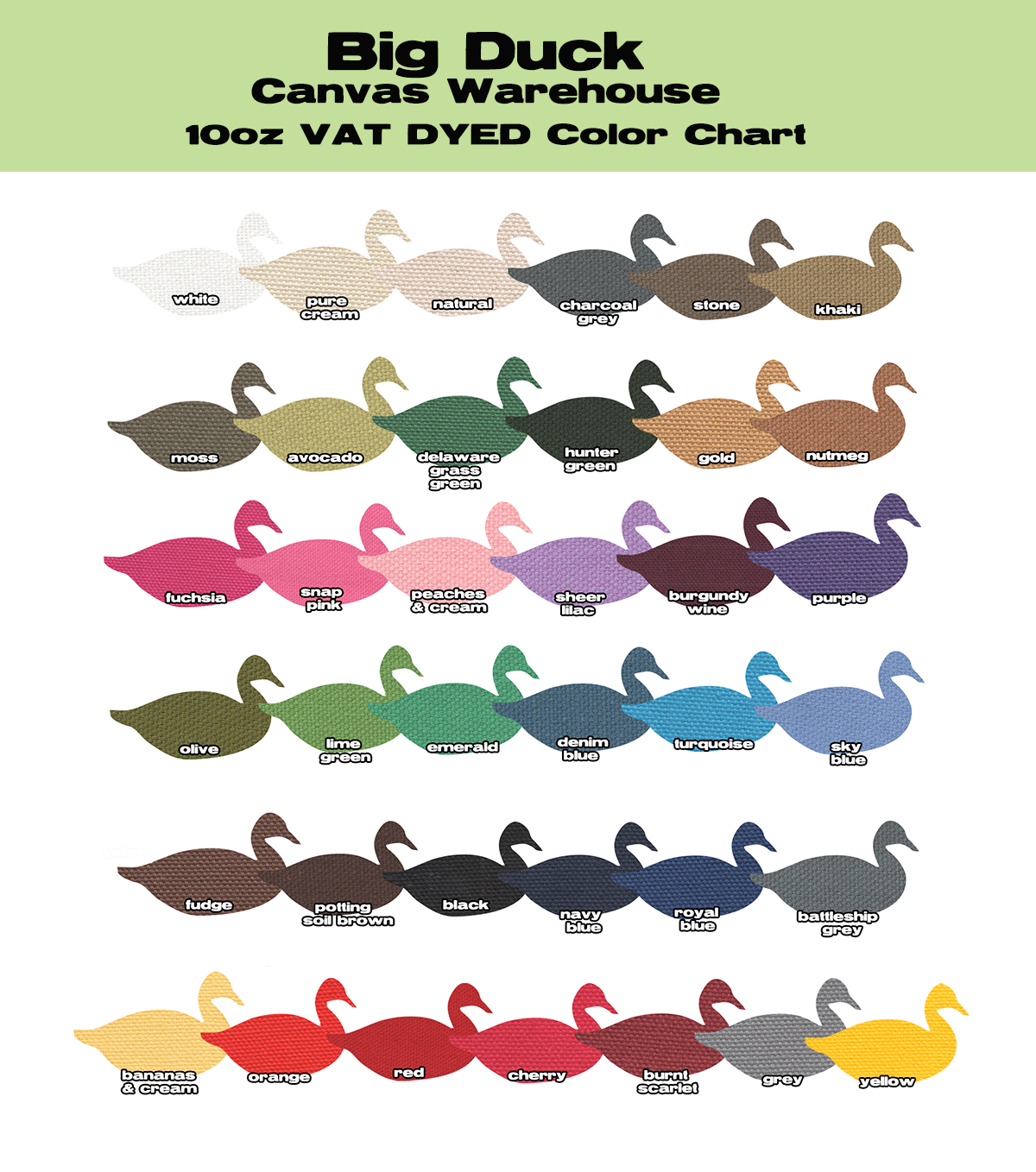 10oz cotton duck wholesale color chart - Duck Pictures To Color